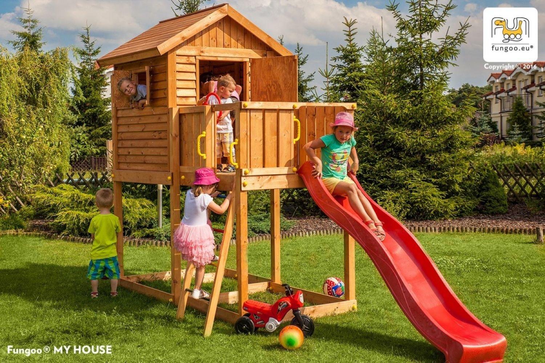 Fungoo ® My House Spielhaus mit Rutsche Farbe rote Rutsche jetzt bestellen