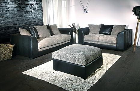 Colada Byron Sofa Range Black & Grey (3 & 2 Seater & Footstool)