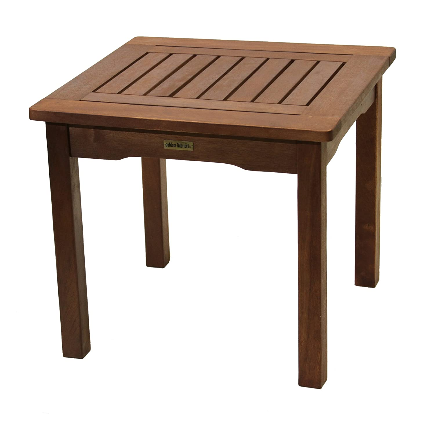 All weather end table eucalyptus easy assembly garden for Small wood end table