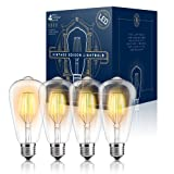 Edison LED Light Bulbs - Dimmable - Vintage Style Warm Filament 4W (40 Watt Equivalent) - UL Listed - ST64 - Color 2300K - E26 Medium Base (4 PACK) (Color: Amber, Tamaño: 4 Pack)