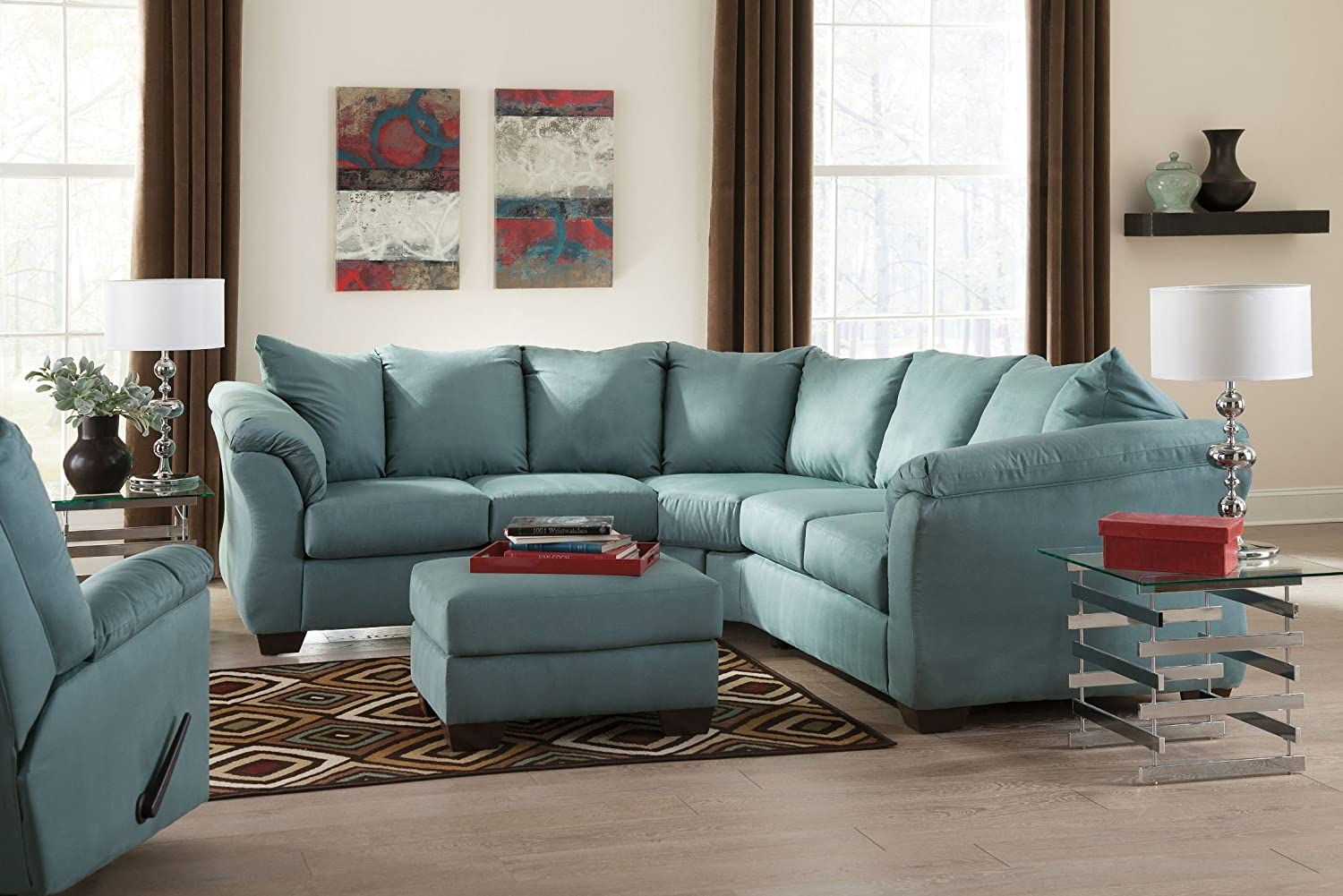 Ashley Darcy 75006-55-56 Stationary Fabric Sectional Sofa with 5 Loose Seat Cushions and Plush Padded Arms in