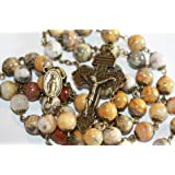 Large Crazy Lace Agate and Bronze 10mm 5 Decade Natural Stone Bead Rosary Made in Oklahoma (Color: Red, Gold, Bronze,)