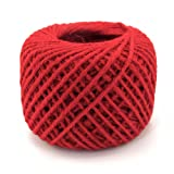 BambooMN 75 Yard, 2mm Crafty Jute Twine Thread Cord String Hemp Jute for Artworks, DIY Crafts, Gift Wrapping, Picture Display and Gardening, 3 Balls Red (Color: 2mm Twine 01 Red, Tamaño: 3x)