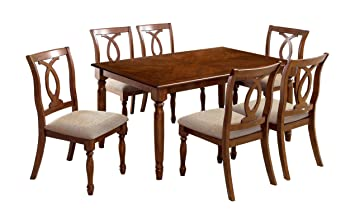Furniture of America Emery 7-Piece Dining Set, Dark Oak