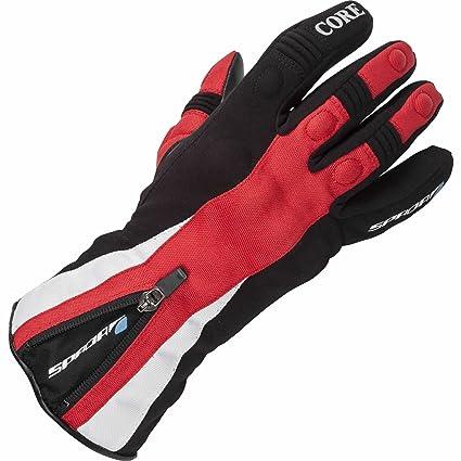 Gants en cuir de moto Spada Core WP noir/rouge
