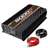 POTEK 5000W Power Inverter Four AC Outlets 12V DC to 110V AC Car Inverter with 2 USB Port (Color: Black, Tamaño: 5000W)