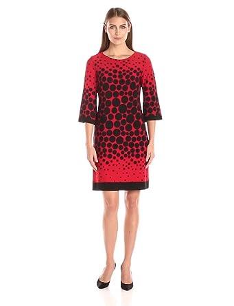 Sandra Darren Women's 3/4 Sleeve Dot Printed Shift Dress, Red/Black, 6