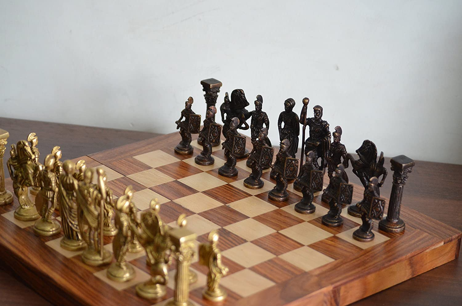 Collectible Greek and Roman Brass Handcrafted Chess Pieces