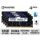 Timetec Hynix IC 64GB KIT(4x16GB) Compatible for Apple 2019 iMac 27-inch w/Retina 5K Display DDR4 2666MHz PC4-21300 2Rx8 CL19 1.2V SODIMM Memory RAM Upgrade (64GB KIT(4x16GB)) (Tamaño: 64GB KIT(4x16GB))