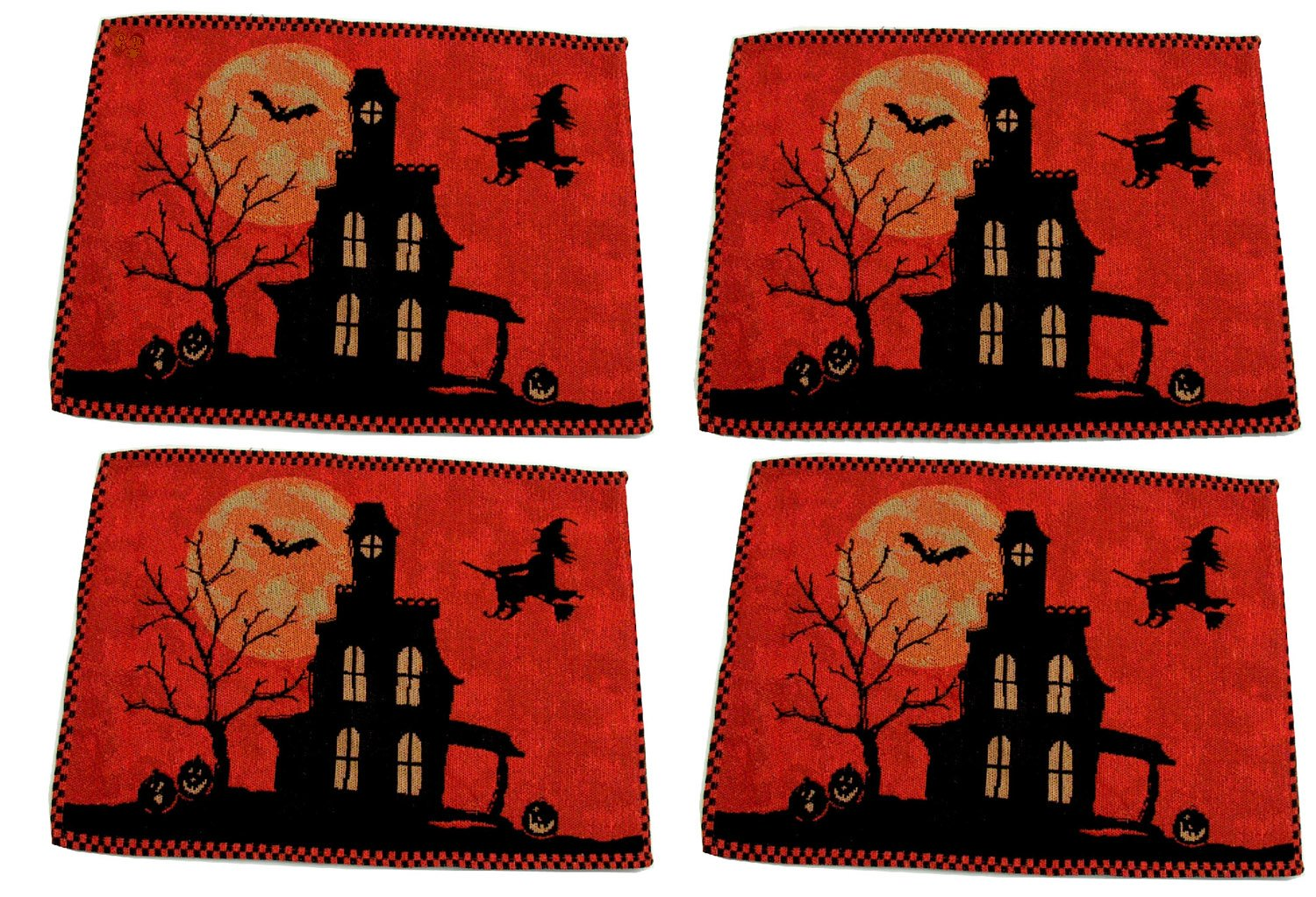 Halloween Fabric Kitchen Place Mats Set of 4 Haunted House Bats Witch  Orange Black NIP - Make a ghastly presentation with these 4 Halloween  placemats. - Halloween Placemats Halloween Wikii