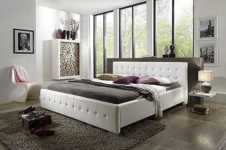 Design Lederbett 140 x 200cm weiß
