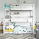 Dorel Living Phoenix Triple Floor Bunk Bed, White (Color: White, Tamaño: Triple Bunk)
