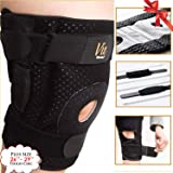 Hinged Knee Brace Plus Size - Newly Engineered Knee Braces with Enhancement on Flexibility, Extra Supportive, Non-Slip and Non Bulky - Wrap Around to fit Larger Legs for Men and Women - Vie Vibrante (Color: Gray, Tamaño: Size 3(Gray): fits 26-30