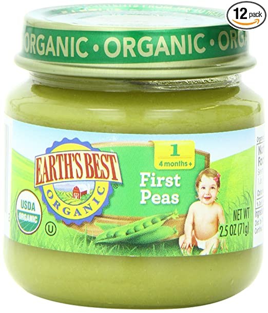12-Pack Earths 2.5 Ounce Best Organic First Peas Jar