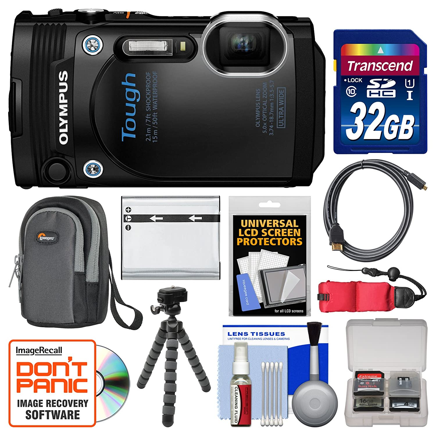Olympus Tough TG-860 iHS Wi-Fi GPS Shock & Waterproof Digital Camera (Black) with 32GB Card + Case + Battery + Flex Tripod + Float Strap + Kit dli90b replacement 3 6v 1270mah battery pack for olympus tough tg 1 ihs white black