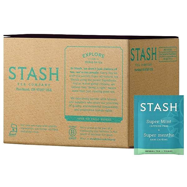 Stash Tea Super Mint Herbal Tea 100 Count Box of Tea Bags in