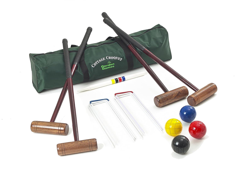 Garden Games 204 - Cottage Kroquet Set für 4 Spieler, Hartholz mit einer praktischen Tragetasche