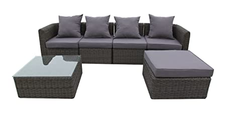 Ambientehome Polyrattan Loungegruppge inkl. Kissen Sitzgruppe Aversa bicolor, braun, 6-teiliges Set