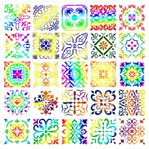 YUEAON 25-Pack (6x6 Inch) Painting Stencils for Floor Wall Tile Fabric Wood Burning Art&Craft Supplies Mandala Template-reuseable