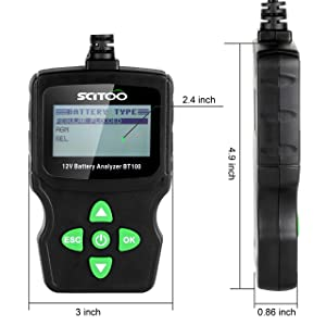 SCITOO BT100 Automotive Battery Analyzer 12V 100-1100 CCA Tester for Regular Flooded, AGM Flat Plate, AGM Spiral and GEL Batteries (Color: Black and Green)