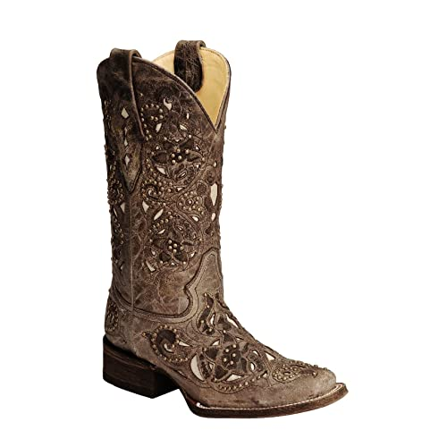 Corral Womens Studded Bone Inlay Crater Cowgirl Boot Square Toe