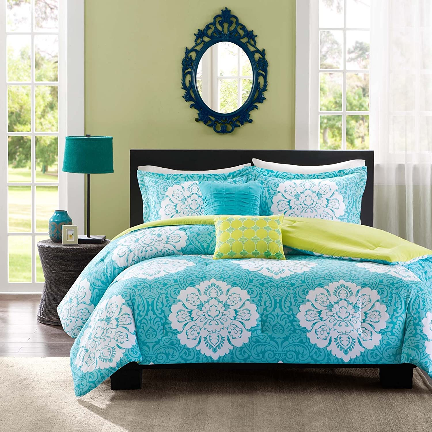 teen girl bedding and bedding sets – ease bedding with style - aqua blue lime green floral damask print comforter bedding set girls teenfull twin (twin