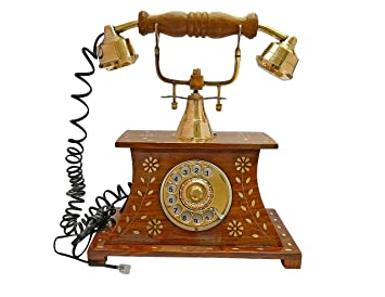Itos365 Antique Telephone Home D Cor Vintage Items Made Of Wood With Brass Work