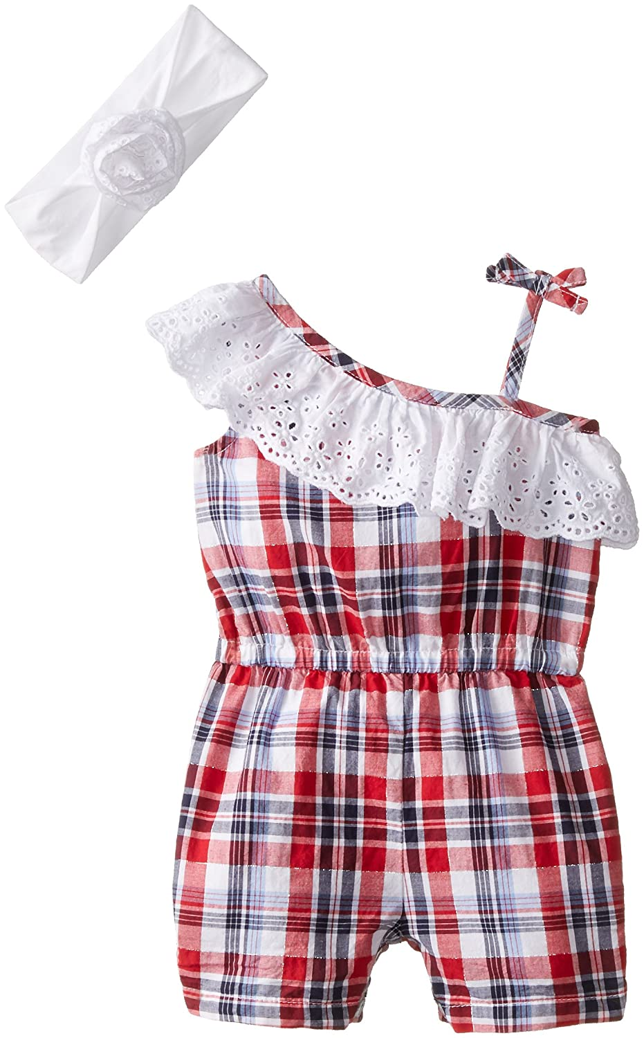 The Children's Place Baby-Girls Newborn Americana Plaid Romper and Headwrap Set newborn baby boy girl infant warm cotton outfit jumpsuit romper bodysuit clothes