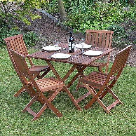 Kingfisher FSWSET2 Victoria - Set con tavolo e sedie da giardino, 5 pezzi