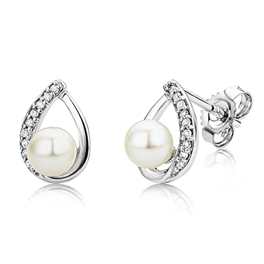 Miore USP031EW 9 ct White Gold Freshwater Pearl and Diamond Pear shape Stud Earrings