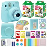 Fujifilm Instax Mini 9 Instant Camera ICE Blue w/Case + Fuji Instax Film Value Pack (40 Sheets) for Fujifilm Instax Mini 9 Camera + Accessories Bundle, Color Filters, Photo Album, Selfie Lens + More (Color: ICE BLUE)