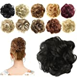 FESHFEN Synthetic Hair Bun Extensions Messy Hair Scrunchies Hair Pieces for Women Hair Donut Updo Ponytail (Color: A03- 2# Natural Black, Tamaño: Normal)