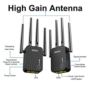 1200Mbps Dual-Band WiFi Range Extender, 2.4GHz & 5GHz WiFi Repeater, Wireless Signal Booster with 4 Ethernet Antennas (Color: Black-Y)