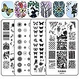 Ejiubas Nail Stamper Stamping Plates Double Side Nail Art Stamping Kits DIY Layering Plates Nail Templates 2 Pcs Nail Art Design EJB-X14&X15 (Color: layering plates)