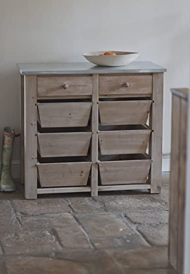 Wooden 8 Drawer Storage Unit with Zinc Counter Top - ideal for your kitchen utensils etc