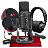 Samson G-Track Pro Professional USB Condenser Microphone w/Audio Interface Bundled with PreSonus HD9 Pro Headphones, Mic Pop Filter, Headphones Case, and Accessories (Tamaño: Deluxe)