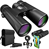 Waterproof 10x42 Binoculars For Adults. Lightweight Compact Binoculars 10x42 Prism BAK4. HD Binocular For Bird Watching Hunting Traveling And Sightseeing With Smartphone Adapter (Color: Black)