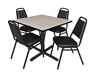 Regency Seating 42-Inch Square Maple Laminate Table with Cain Base and 4 Black Restaurant Chairs