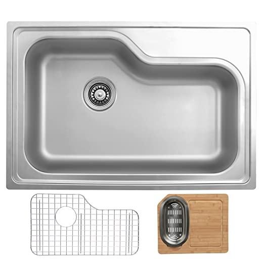 Ukinox DXT840.GC Modern Drop in Single Bowl Stainless Steel Kitchen Sink with Bottom Grid & Cutting Board