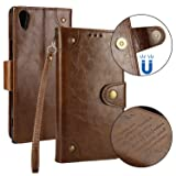 Sony Xperia XA1 Ultra Case Retro, Lomogo Leather Wallet Case with Kickstand Card Holder Shockproof Flip Case Cover for Sony Xperia XA1 Ultra - LOHHA10332 Brown