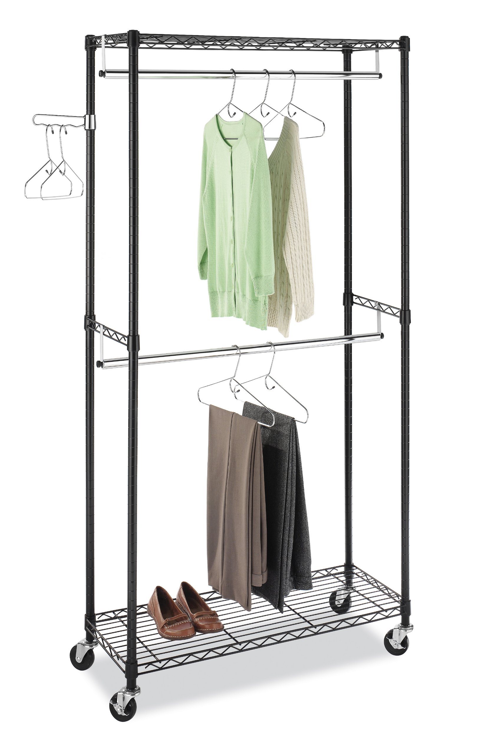 new double hanging garment rack wheeled clothes storage