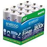eneloop SEC-HR4U12SB 12-Pack 800mAh Typical 750mAh Minimum 1500 Cycle Ni-MH Pre-Charged Rechargeable AAA Batteries