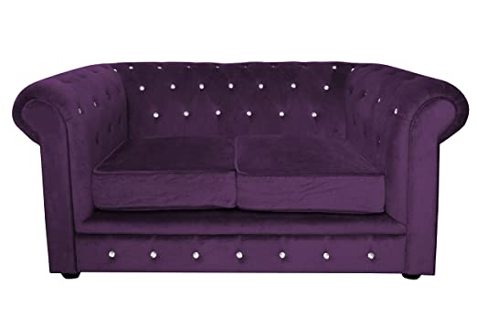 Premier Housewares Chesterfield Canapé 2 places Velours/strass Violet 90 x 155 x 73 cm