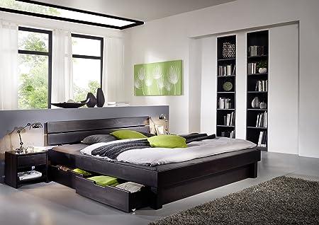 SAM® Massiv Holz Bett Columbia, mit Schubkästen, Bett aus Kernbuche wenge, geteiltes Kopfteil, naturliches Design mit individueller Wuchsrichtung 180 x 200 cm