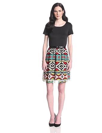 Star Vixen Women's Short Sleeve Chiffon Skirt Belted Skater Dress, Black/Grey, Small