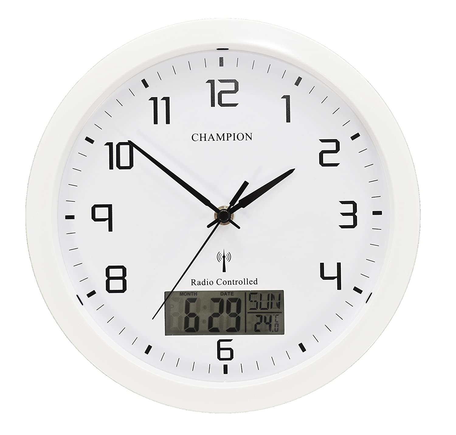Champion Radio Controlled Msf Lcd Day Date Quartz Wall
