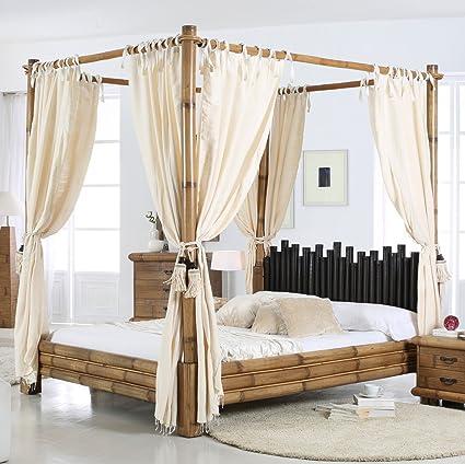 Bambus-Himmelbett 160x200 Bett Himmel asiatisches Ehebett Holzbett Natur