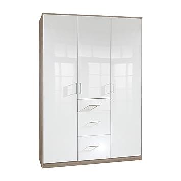 Wimex 243625 Clack Armoire 3 Portes Battantes Bois Chêne/Laqué Blanc Cassé 58 x 135 x 198 cm