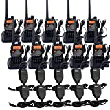 Retevis RT-5RV 2 Way Radios 5W VHF/UHF Radio 128CH Dual Band 136-174/400-520 MHz VOX CTCSS/DCS FM Walkie Talkie(10 Pack) with Speaker Mic (10 Pack)