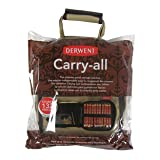 Derwent Pencil Case, Canvas Carry-All Bag Pencil Holder with Removable Shoulder Strap, Holds up to 132 Pencils and Supplies (2300671) (Color: Brown, Tamaño: 132 Capacity)